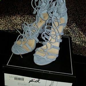 Qupid Lace-Up Ash Blue Heels